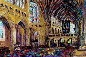 Exeter Cathedral, Acrylic on canvas, Size 91.5 x 61cm SOLD
