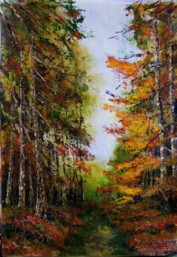 Autumn Walk, Acrylic on canvas on board, Size 61 x 45cm SOLD